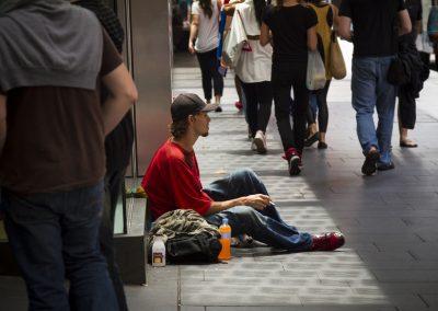 homeless man on the streets of Sydney Australia