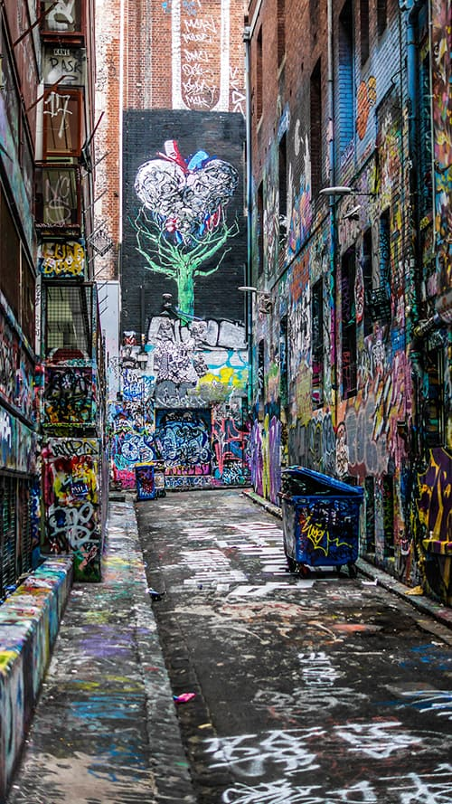 Hosier Lane contains one continuous laneway of graffiti